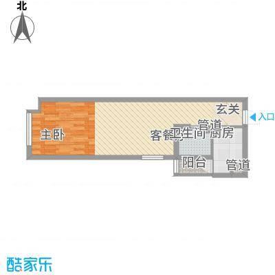 渝能明日城市4.43㎡一期R6号楼标准层C户型1室1厅1卫1厨