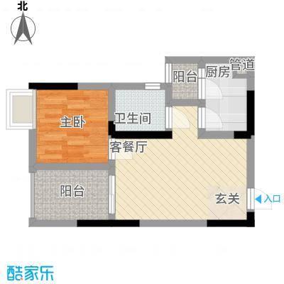 渝能明日城市42.84㎡二期R8号楼标准层E户型1室2厅1卫1厨
