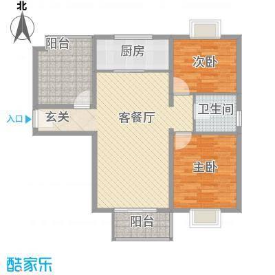 水岸新城15户型2室2厅1卫1厨