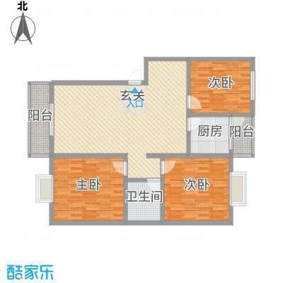 水岸新城9户型3室2厅1卫1厨