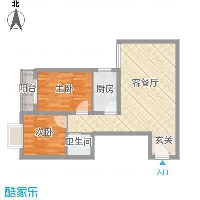 华聚苑75.54㎡户型2室1厅1卫1厨