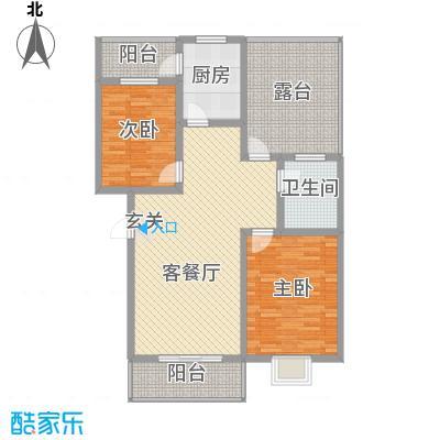 乐活城E1户型2室2厅1卫1厨
