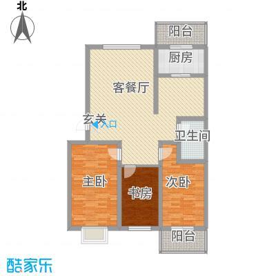 乐活城F户型3室2厅1卫1厨