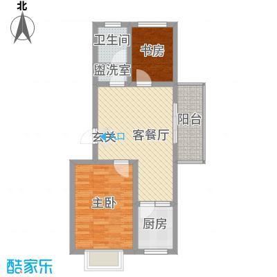 乐活城G户型2室2厅1卫1厨