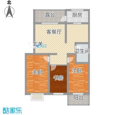 乐活城F1户型3室2厅1卫1厨