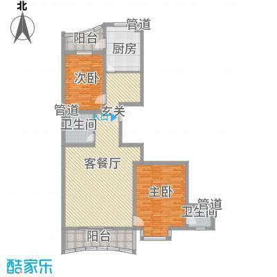 松北之家1.65㎡户型2室2厅1卫1厨
