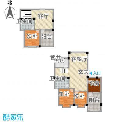 佳弘・中央公馆15.00㎡14#楼下跃式户型3室3厅2卫1厨