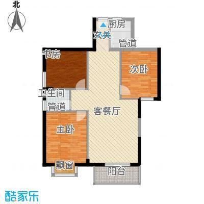 浦南花园1#、2#、3#楼29层07单元户型3室2厅1卫1厨