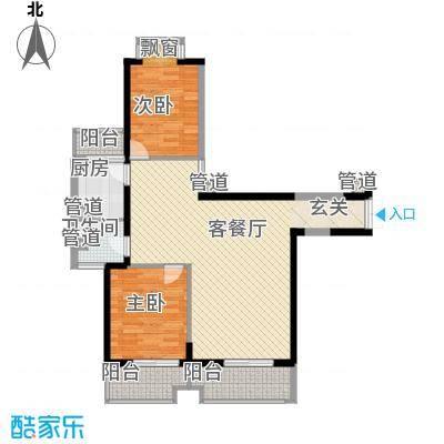 浦南花园1#、2#、3#楼33层02单元户型2室2厅1卫1厨