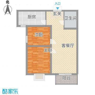 东铂城5.16㎡a4户型2室2厅1卫1厨