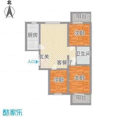 东铂城18.31㎡b3户型3室2厅1卫1厨