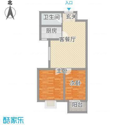 东铂城85.00㎡b2户型2室2厅1卫1厨