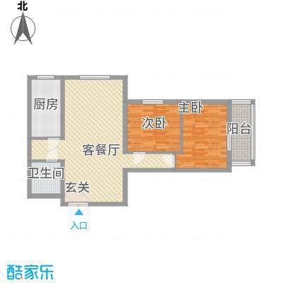 东铂城5.73㎡a1户型2室2厅1卫1厨