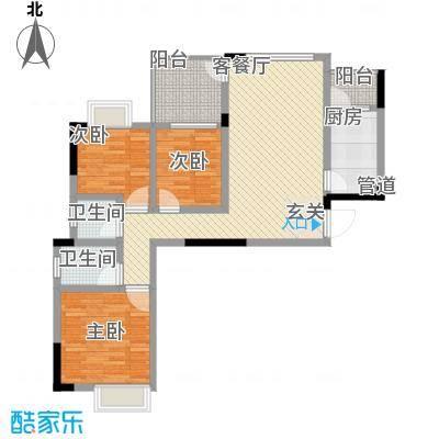 我平方87.40㎡3号楼1、2号房户型3室2厅1卫1厨