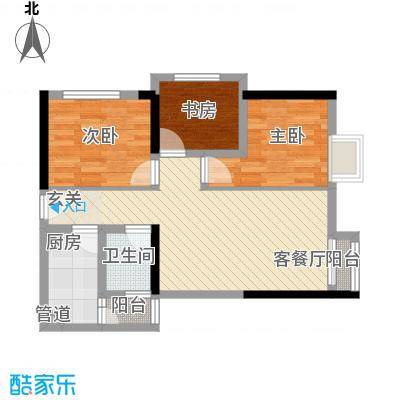 我平方78.48㎡2号楼5号房户型3室2厅2卫1厨