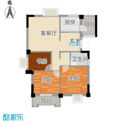 汉景嘉园3.00㎡F户型3室2厅1卫1厨