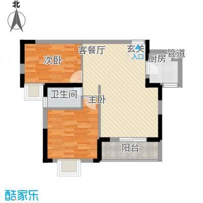 禹洲溪堤尚城76.00㎡5#高层B7户型2室2厅1卫1厨
