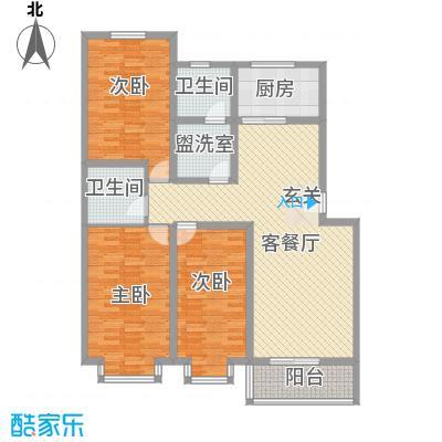 凝瑞苑134.81㎡标准层B户型3室2厅1卫1厨