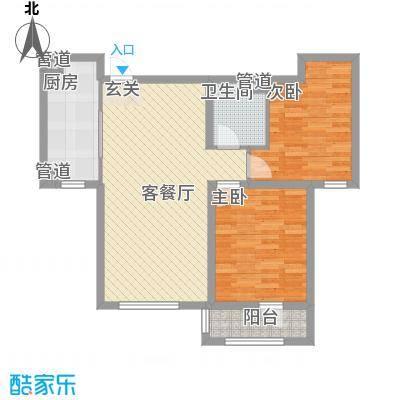 宜和美林86.00㎡一期小高标准层B-b户型2室2厅1卫1厨