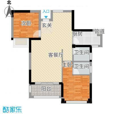 禾祥西厦罐宿舍2-2-2-1-1户型2室2厅2卫1厨