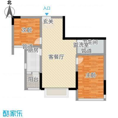 渝复新城丽都6.24㎡B-2户型2室2厅1卫1厨