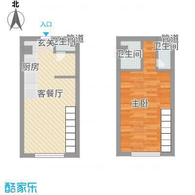 锦华银座55.82㎡户型1室2厅2卫1厨