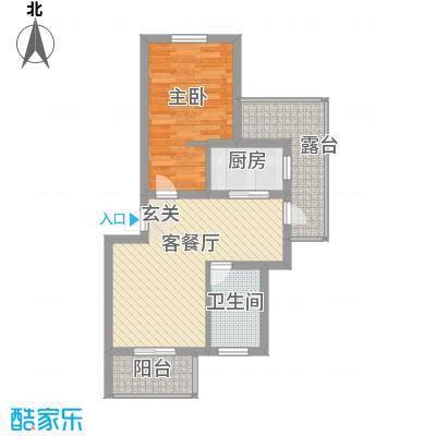 乐城66.70㎡三层户型1室2厅1卫1厨