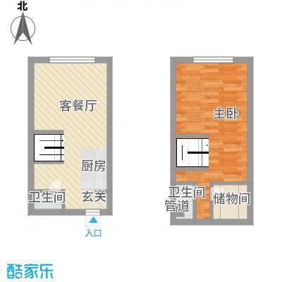 锦华银座55.70㎡复式户型1室1厅2卫1厨