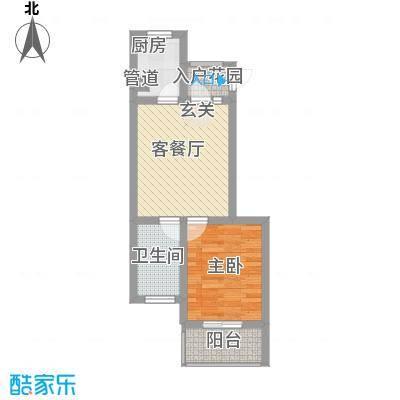 乐城52.43㎡三层户型1室1厅1卫1厨