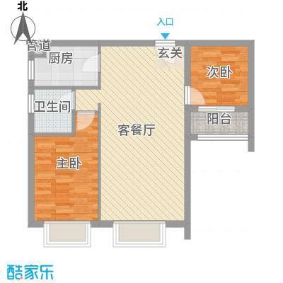 王子广场82.17㎡1#楼B塔楼标准层1、2、3号梯02户型2室2厅1卫1厨