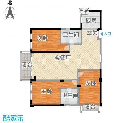 惠元大厦7户型3室2厅2卫1厨