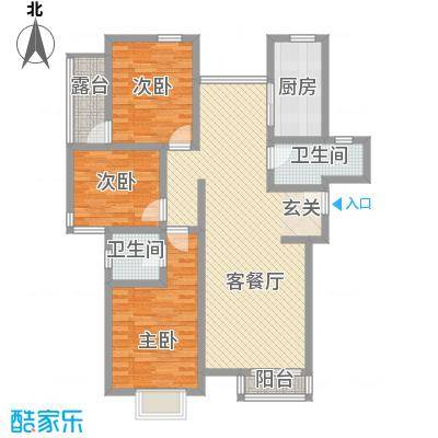 惠元大厦8户型3室2厅2卫1厨