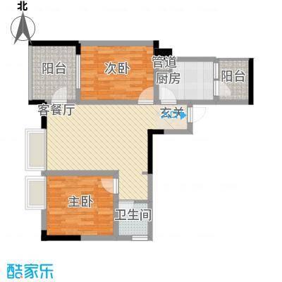 恋恋上层62.55㎡1、2栋标准层5号房户型2室2厅1卫1厨