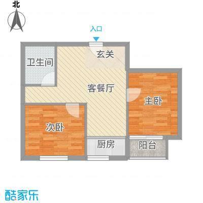 金石华庭66.00㎡5#楼D户型2室2厅1卫1厨