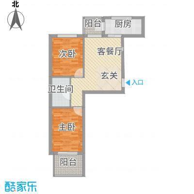 金石华庭67.00㎡5#楼B户型2室2厅1卫1厨