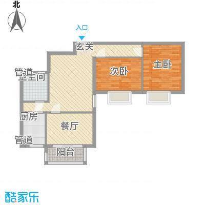 泰华滨河苑2#4-2户型2室2厅1卫1厨
