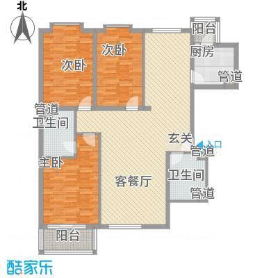 泰华滨河苑143.71㎡2#5-1户型3室2厅2卫1厨