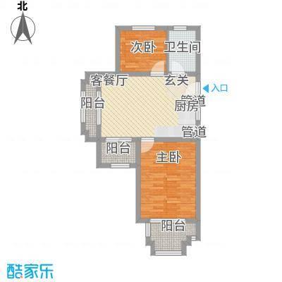 国轩雅典娜77.80㎡A户型2室2厅1卫1厨
