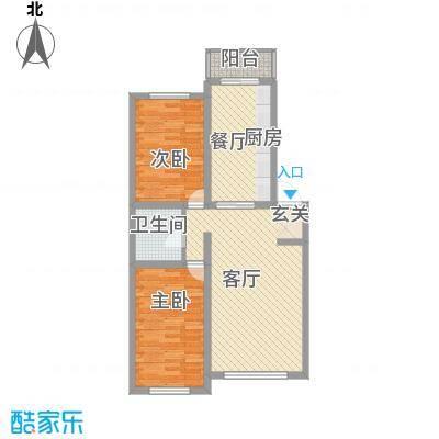 龙逸花园8.31㎡2期C组团户型2室2厅1卫
