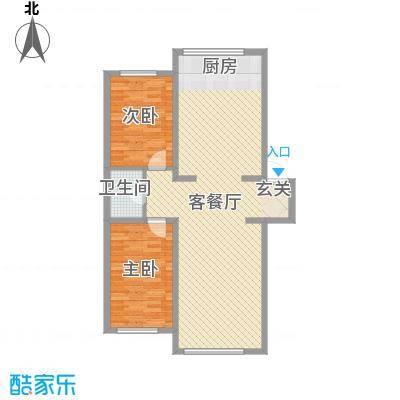 龙逸花园16.13㎡2期C组团户型2室2厅1卫