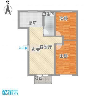 金地花园82.83㎡2#、8#楼E户型2室2厅1卫1厨