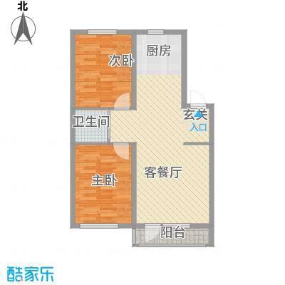 金地花园77.80㎡3#、5#、6#、7#楼B户型2室2厅1卫1厨
