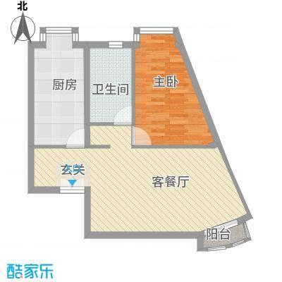 当代名筑8.30㎡16号楼A5户型1室2厅1卫1厨