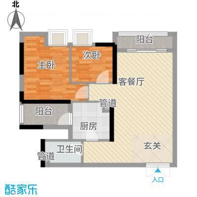 倾城时代户型2室2厅1卫1厨