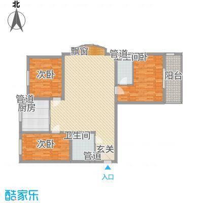 东方名筑14.60㎡D户型3室2厅1卫1厨