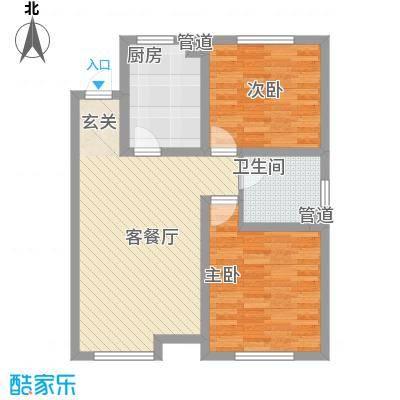 教师之家一期高层标准层G2户型2室2厅1卫1厨