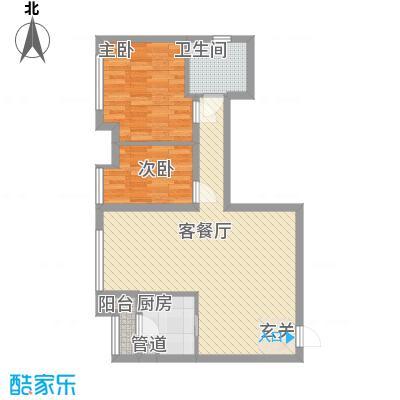 渝能明日城市7.30㎡一期R6号楼标准层E户型2室2厅1卫1厨