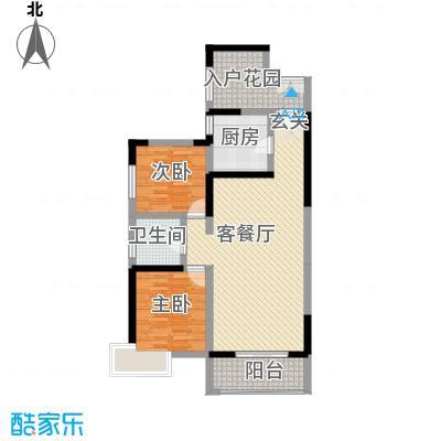 康城项目15.78㎡13#15#16#楼E户型2室2厅1卫1厨