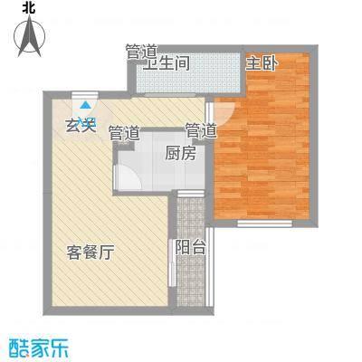 龙湖大厦户型1室2厅1卫1厨