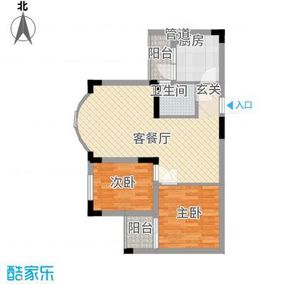 金科丽苑75.40㎡户型2室2厅1卫1厨